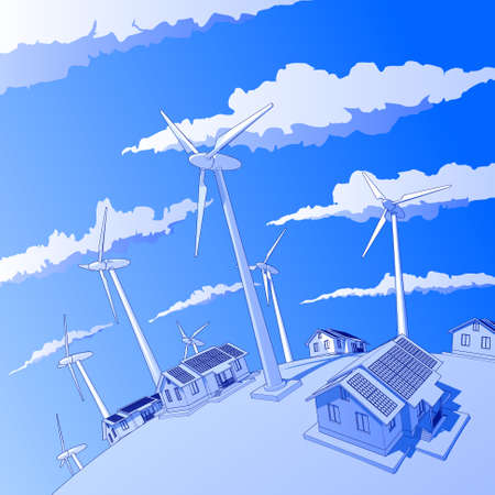 Industry concept: wind-driven generators & houses with solar power systems Vector