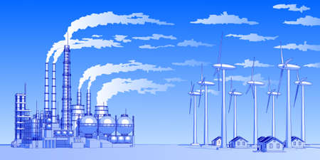 Industry concept: abstract plant with smokey sky, wind-driven generators & houses with solar power systems Illustration