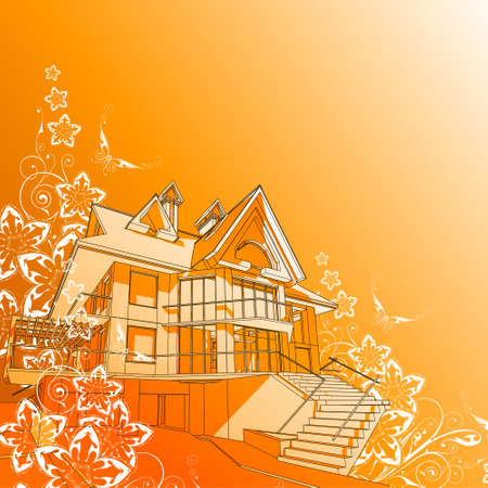 house: vector technical draw & flowers