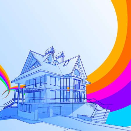 house: vector technical draw & abstract rainbow background Illustration