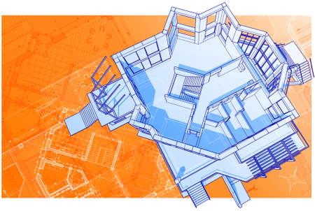house: vector technical 3d draw & plan