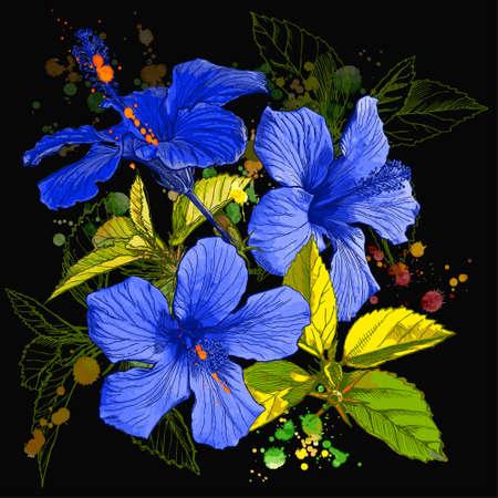 plante tropicale: Hibiscus flower - vector watercolor peinture. Les �l�ments sur des calques