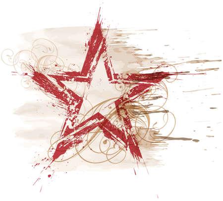Vector Illustration of Grunge watercolor star & floral ornament Illustration