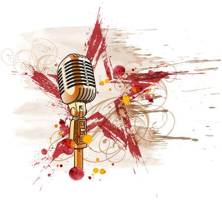 microfono radio: Estrella de rock. Micr�fono, grunge acuarela estrellas y adornos florales