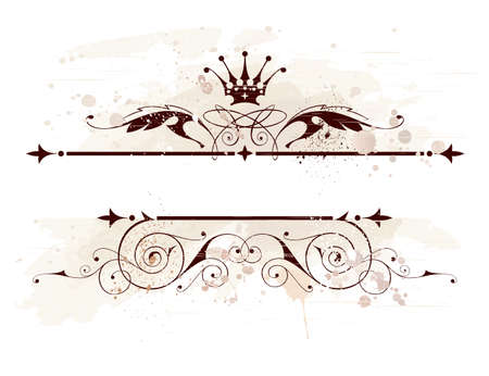 vintage emblem, crown, floral ornament & grunge background Vector