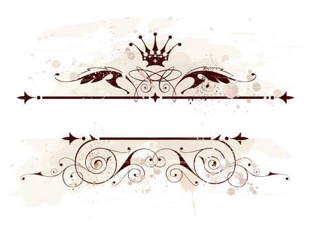 vintage emblem, crown, floral ornament & grunge background