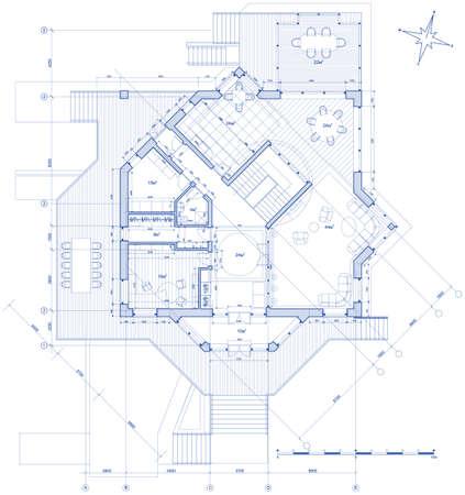 건축가:  plan: vector blueprint