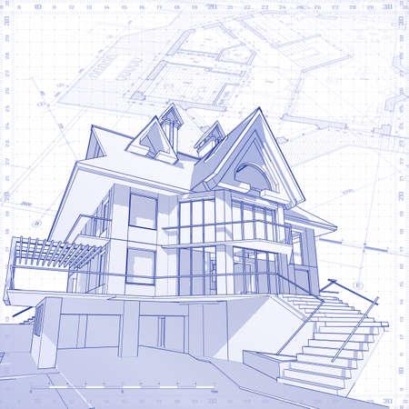 3d : vector technical blueprint Illustration