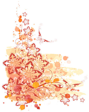 floral corner. watercolor paint Vector