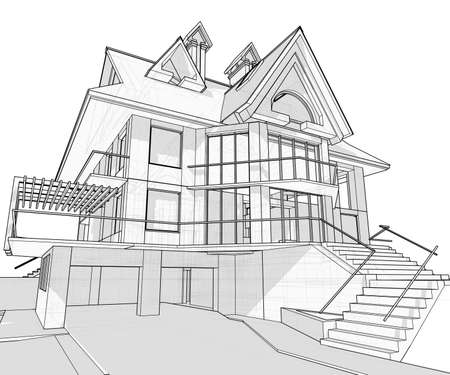 architect drawing: house: vector technical draw