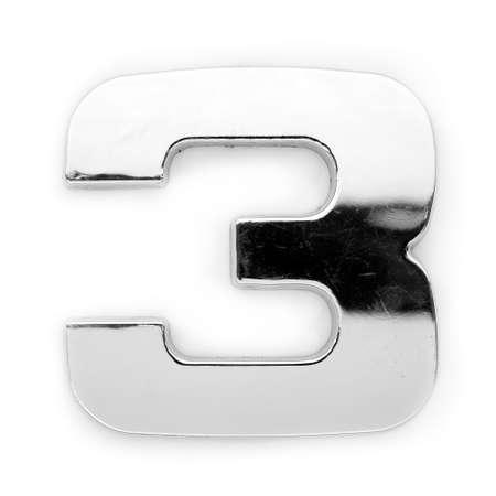 Gray metal alphabet - digit 3