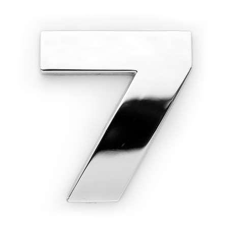 Gray metal alphabet - digit 7