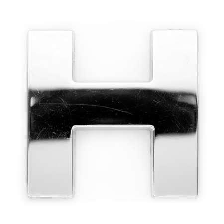 reading material: H - Metal alphabet symbol Stock Photo