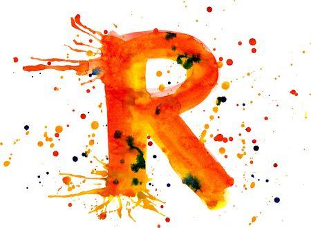 r: watercolor paint - letter R