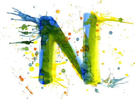 write a letter: watercolor paint - letter N