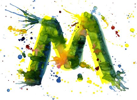letter m: watercolor paint - letter M