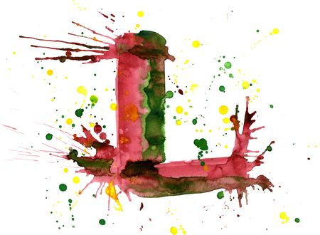 letter l: watercolor paint - letter L