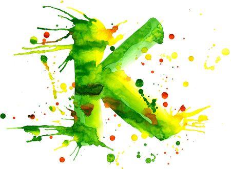 splotches: watercolor paint - letter K