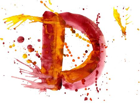 write a letter: watercolor paint - letter D Stock Photo