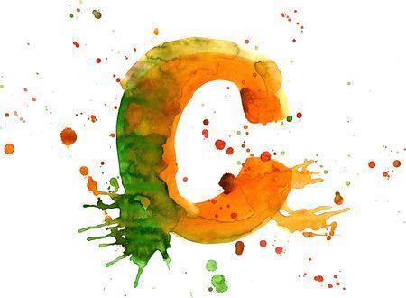 watercolor paint - letter C