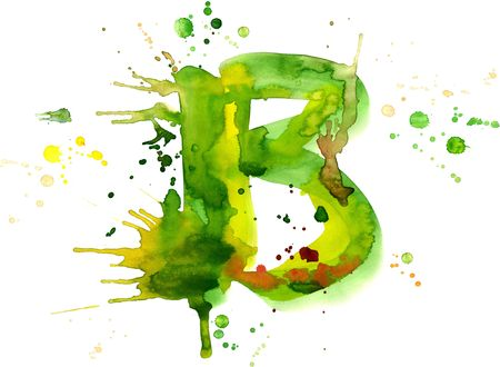 decorative letter: watercolor paint - letter B Stock Photo
