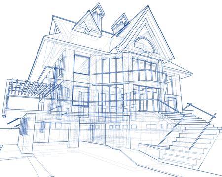 modern house sketch: 3d blueprint house: vector technical draw