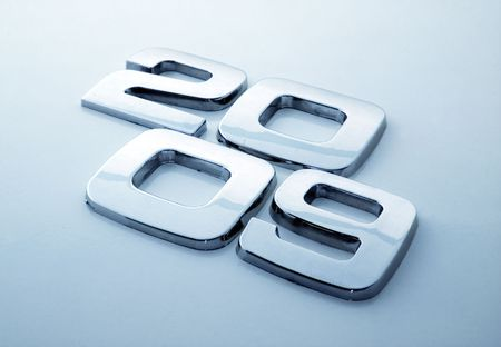 monotype: Metal digits - 2009 Stock Photo