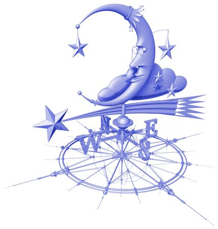 gusty: weather vane (moon & stars on wind rose)