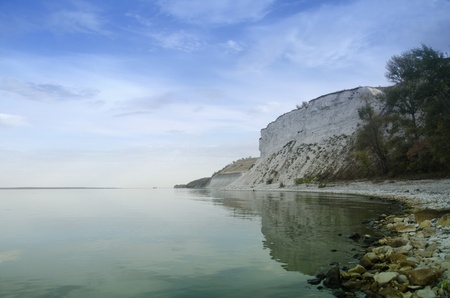 the volga river: Volga River, near the village of Golden, Saratov region is very high, for there are a lot of large and small stones