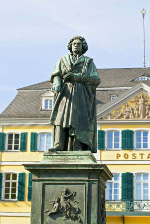 beethoven: Monument of Ludwig van Beethoven on background of post building in the center of Bonn, Germany Stock Photo