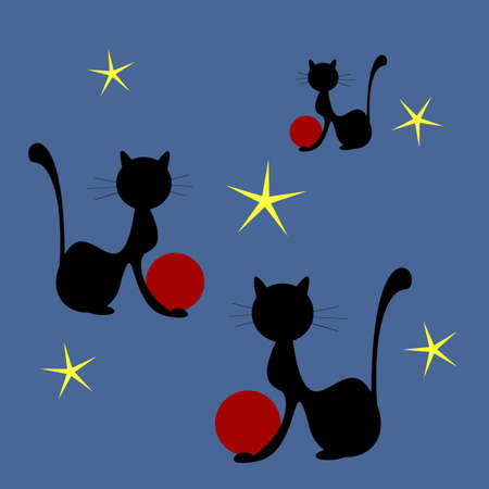 Shapes of black cats playing with red balls on dark blue background with yellow stars Illustration