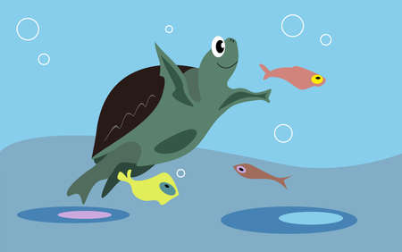 Smiling turtle and colorful fishes in the ocean Vector