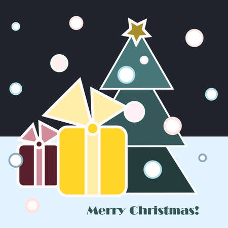 Christmas gifts and Christmas tree on dark sky and blue snow background Illustration