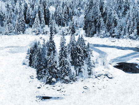Caumasee  Lag la Cauma or Lai da Cauma , a lake near Flims, in the Grisons, Switzerland  Winter landscape, painting effect