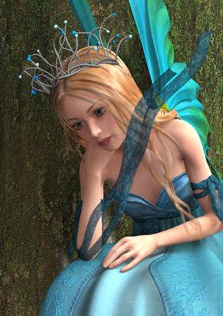 fey: 3D digital render of a beautiful blond fairy on green tree background