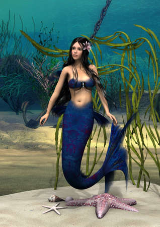 3D digital render of a cute mermaid on blue fantasy ocean background photo
