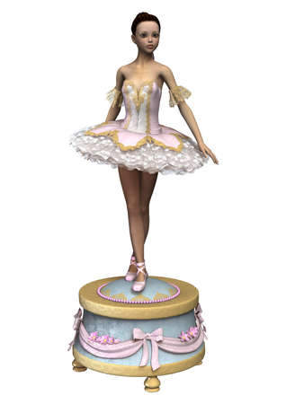 3D digital render of a beautiful female ballet dancer on a vintage music box isolated on white background Stock Photo