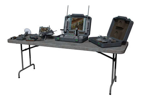 cam gear: 3D digital render of a surveillance equipment on the table isolated on white background