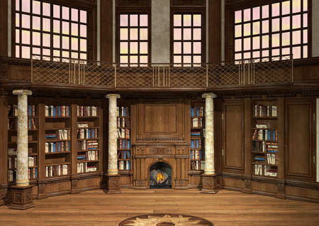 OLD LIBRARY: 3D digital render of an antique library with lots of books and a fireplace Stock Photo