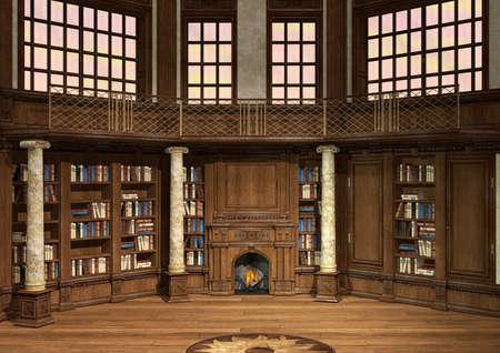 cổ điển: Kỹ thuật số 3D render của một thư viện cổ kính với rất nhiều sách và lò sưởi