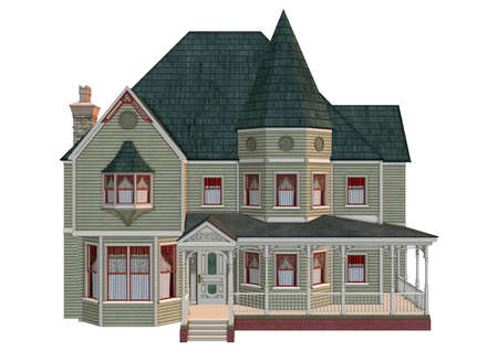 victorian background: 3D digital render of a beautiful Victorian house isolated on white background Stock Photo