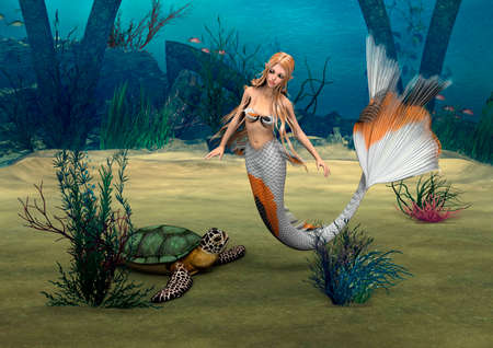3D digital render of a cute mermaid and a turtle on blue fantasy ocean background photo