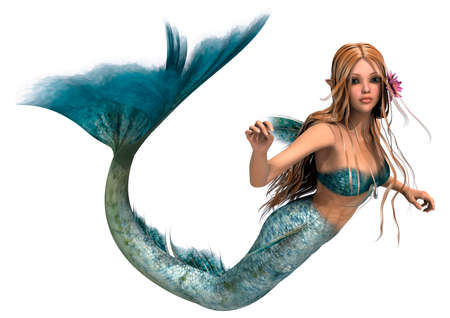 tail: 3D digital render of a cute mermaid isolated on white background
