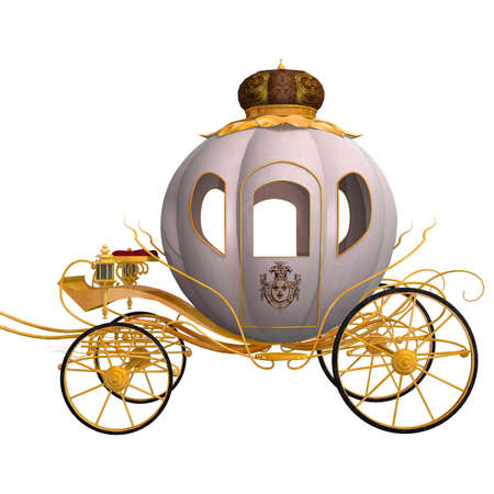 3D digital render of a beautiful Cinderella cariage isolated on white background Stock Photo