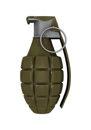 3D digital render of a  pineapple grenade isolated on white  Stock Photo