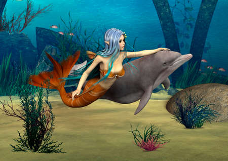 3D digital render of a cute mermaid and dolphin on blue fantasy ocean background photo