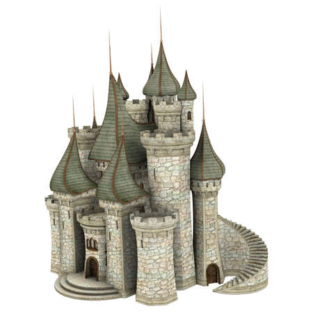3D digital render of a fairy tale castle isolated on white background photo