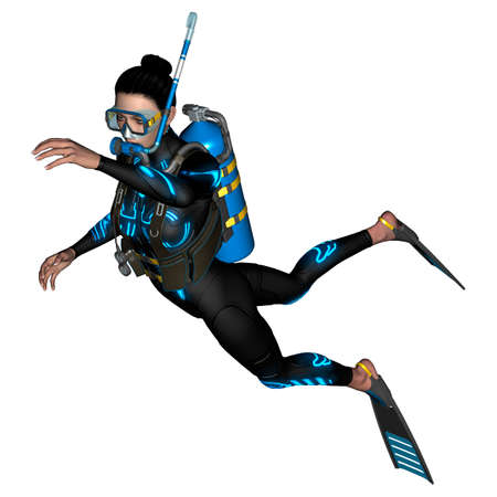 3D digital render of a female diver with a mask isolated on white background