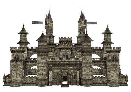 rendered: 3D digital render of an old fairy tale castle isolated on white background