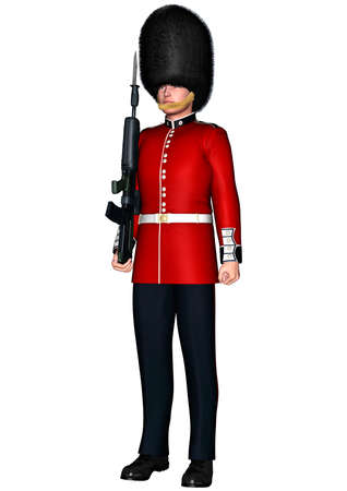 3D digital render of a royal British guardsman isolated on white background